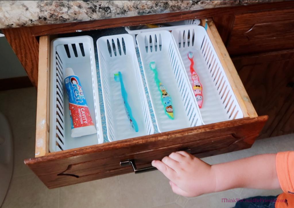 minimalist bathroom toothbrush drawer