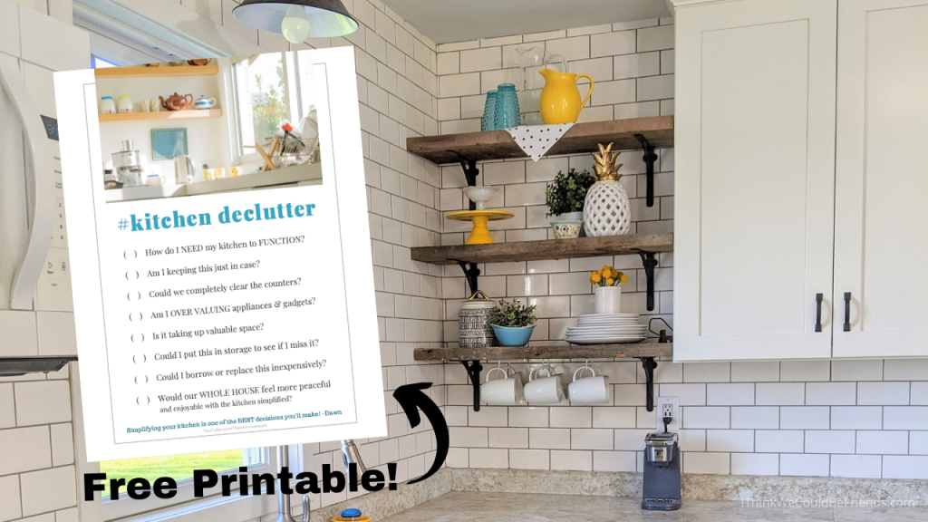 free printable with questions for decluttering your kitchen quickly
