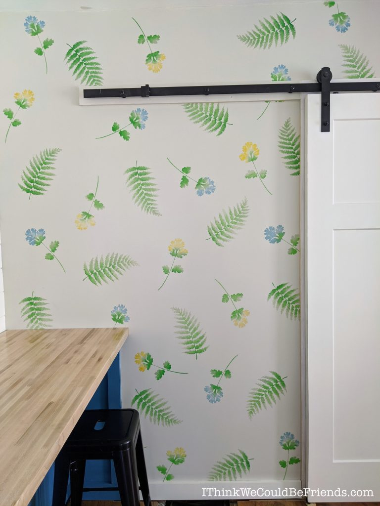 Watercolor Stenciled wallpaper in our home office